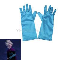 Sky Blue Elsa Princess Kids Girls Satin Gloves Cartoon Costume Party Fancy Dress