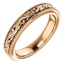 SIZE 7 - 14k Rose Gold Design Engraved Wedding Band 3.5mm Wide Scroll Ring