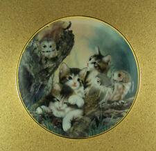 Whoo Are You? Plate Franklin Mint Cat Kittens Owl Fine Porcelain Charming 8-inch