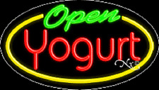 "New ""Open Yogurt"" 30x17 Oval Solid/Flash Real Neon Sign w/Custom Options 14410"