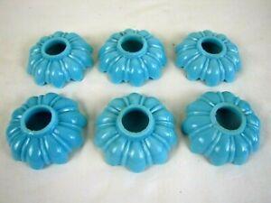 VICTORIAN ANTIQUE ROBINS EGG BLUE MILK GLASS CANDLE WAX DRIP COLLARS / CATCHERS