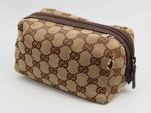 【Rank B】GUCCI Accessories Pouch Beiges GG Pattern Canvas Leather Cosmetic