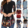 US Women Vintage Printed Tunic Tops Plus Casual Loose Tops Blouse Shirt T-Shirt