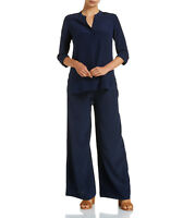NWT $200 SPORTSCRAFT Signature SILK Palazzo PANTS French Midnight Navy