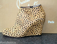 NIB CHRISTIAN LOUBOUTIN BELLE ZEPPA 85 PONY JUNGLE ANKLE WEDGE Booties Shoes 36