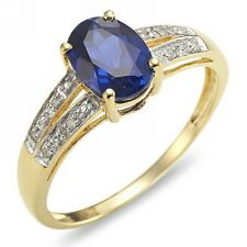 Halo Size 8 Nobby Blue Sapphire 18K Gold Filled Womens Engagement  Wedding Ring