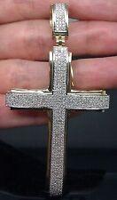 "New 10K Men's Yellow Gold Cross Charm With 1.20CT Diamond 3.0"" Long/Jesus/ Angel"