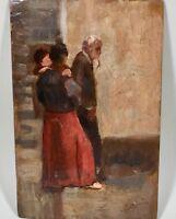 Peinture , tableau ancien , scène de rue .