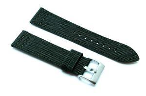 Cinturino  orologio cordura verde militare fondo pelle 22mm kevlar tela nato 416