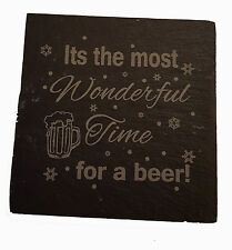 Engraved Slate Christmas Coaster Most Wonderful Time For A Beer Gift for Drinker