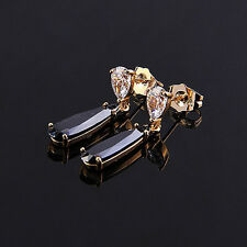 Elegant 18k Gold Plated Black & White Zircons Teardrop Studs Earrings E309