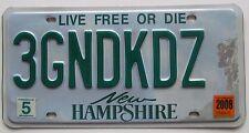 New Hampshire 2008 VANITY License Plate THREE GRAND KIDS