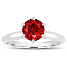 Enhanced Red Diamond Solitaire Engagement Ring 6 Prong 14K White Gold Handmade