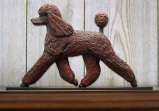 Poodle Dog Figurine Sign Plaque Display Wall Decoration Brown