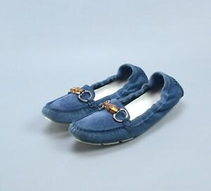 GUCCI Blue Suede Bamboo Horsebit Driving Loafers Shoes 37.5 US7.5 MADE IN ITALY