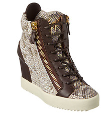 NEW Giuseppe Zanotti High Top Wedge Snake Embossed Sneakers Shoes Size 40 10 NIB