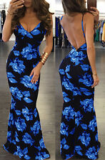 2017Women Summer Sexy-V Floral Bodycon Party Long Maxi Boho Dress Beach Sundress
