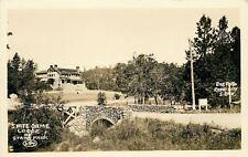 Custer South Dakota~State Game Lodge~Rock Stone Bridge~1920s Car~Real Photo~RPPC