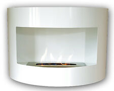 Bio Ethanol Fireplace RIVIERA DELUXE WHITE Wall Fire Place with Firebox 1 Liter