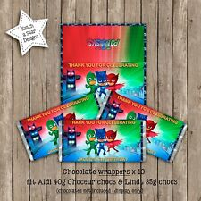 PJ MASKS BIRTHDAY PARTY PERSONALISED CHOCOLATE WRAPPERS x 10