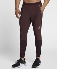 Nike DRI FIT SWIFT Running Trousers Large Mens Burgundy Crush 928583-652