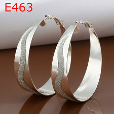 Cool 925Sterling  Silver Sandy S Waterwave Circle Women Hoop Earrings E463 + Box