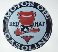 "RED HAT Motor Oil Gasoline Garage Man Cave Retro Metal Tin Sign Plaque 12"" NEW"