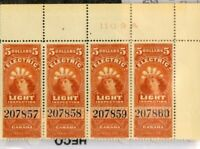 Canada Stamps $5 ELECTRIC XF OG NH 1897 Strip Of 4 P.O. Fresh