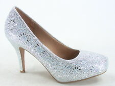 Women's Sexy Bridal Party Rhinestone Round Toe Stiletto Heel Shoes Size 5 - 10