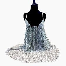 Philippe Matignon Black & White Dress Polka Dots & Lace Teddy 100% SILK New