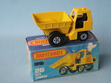 LESNEY MATCHBOX sito DUMPER GIALLO Boxed giocattolo di costruzione modello auto BOXED