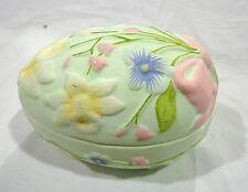 vintage Bisque porcelain egg trinket box by Silvestri