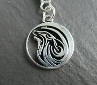 Mens Womens Wolf Charm Silver Chain Necklace Animal Totem Symbol UK Seller