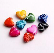 Free Ship 40pcs Mixed Resin Heart Shaped Beads Finding 15x13mm