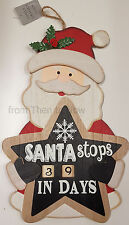 Gisela Graham Large Wooden Santa Christmas Countdown Calendar Advent Wall Plaque
