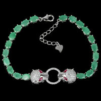 NATURAL GREEN EMERALD, TOURMALINE & CZ STERLING 925 SILVER TIGER BRACELET 7-8