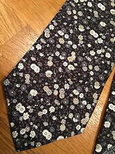 Paul Smith NOIR Cravate PRINCIPAL MULTIFLORAL 9cm 100% Soie Made in Italy