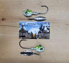 (2)Herring Head Underspin 1oz, 6/0 Vmc Striper Rockfish Cabezon Trout Green Back