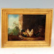 Maurice (XIXème) ◊ Le poulailler ◊ Peinture à l'huile sur toile signée