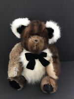 Vtg Handmade 16'' Artist Carol Lynn Teddy Bear Real Mink Fur Jointed Saks 5th