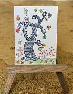 "ACEO ORIGINAL Miniature Art PJR ""Fantasy Fall Day"" Zen inspired tree"