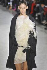 SHARON WAUCHOB Black Silk Drape Wrap Tie Deconstructed Duster Coat M L