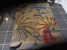 HANDMADE INDIAN, 6' x 4', BRAND NEW, VERY SOFT 100%WOOL, FLOWERS...FREE DELIVERY