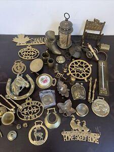 Brass Job Lot 4.7kg Horse Brass Trinkets Trivets Lamp Ornaments #6379