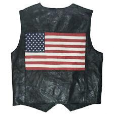 New ListingAmerican Flag 100% Leather Vest Metal Snaps Pockets Lined Intro Mens Sz Xl Black