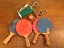 Vintage Tabletop Tennis Ping Pong Paddles with Net Clamp and Ball (hd5)