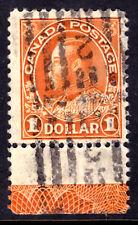 CANADA #122 $1 ORANGE 1925 KGV DRY PRINT, LATHEWORK-D, F, ROLLER