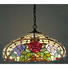 Hanging Ceiling Lamp Fixture Tiffany Style Amber w/ Roses Stained Glass Shade