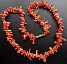 """Antique Edwardian Coral Bead Necklace 16"""" poussoir fermoir-C247"""