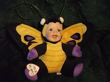 """Cuddle Kids porcelain faced doll Barbara Butterfly by Geppeddo 14"""" to top of ant"""